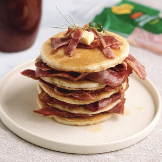 Smoked Beechwood Turkey Rashers & Maple Syrup Pancakes